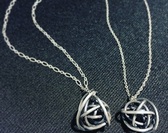 Scribbles long silver necklace