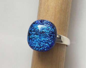 Blue Dichroic Glass Ring, Fused Glass Jewelry, Sterling Silver Adjustable Ring