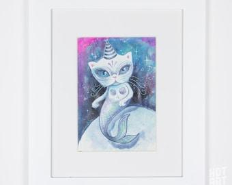 The Purrrmaid - mermaid, small original, framed original, mini art, watercolour painting, original art, one of a kind, art by phresha
