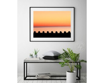 Large Cape Cod Photography, Framed Beach Art, Large Orange Art, Days Cottages, Truro, Provincetown MA Seascape Wall Decor Coastal Wall Print