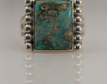 Turquoise Sterling Silver Vintage Fashion Statement Ring Native Southwestern South Western