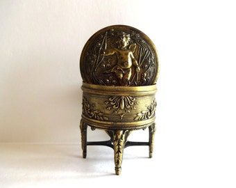 Antique French Footed Louis XVI Gold Ormolu Jewelry Box with Cupid
