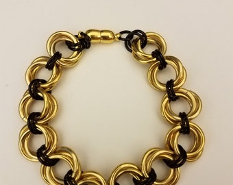 Gold and black mobius rosette Chainmail Bracelet