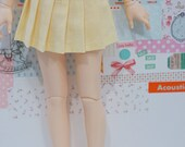 BJD Pleated Skirt - Slim MSD Minifee or SD - Light Yellow