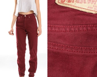 Vintage Wine Red Dark Blood Red Pants Trousers Cigarette Jeans Denim Pants 90s Womens Size Small XS US 6 - 8 EU 34 - 36