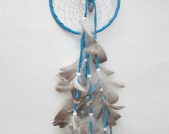 TURQUOISE DREAM CATCHER Six Inch Dreamcatcher Turquoise and Gray Dream Catcher