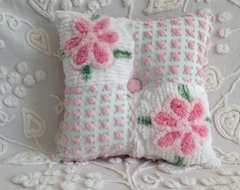Pillow Vintage Chenille in Morgan Jones Pink Rosebud and Plush Pink Flowers...13 x 13""