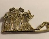 Vintage Goldtone Train Track Brooch ~ Roller Coaster Type Bridge ~ Large ~ NICE