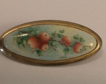 Vintage Porcelain Brooch ~ Apple Branch ~ Signed Ida ~ Hand painted ~ Goldtone Setting ~ NICE