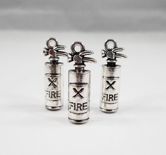 Fire Extinguisher Charms 22x7mm Antique Silver Fire Extinguisher Pendants, Firefighter Charms, Fireman Charms 3D Metal Jewelry Charms, 10pcs