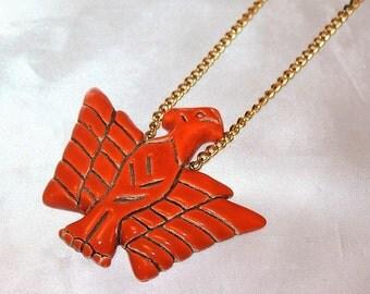 Vintage Massive Western Ceramic Orange Unique Necklace NMM1