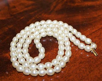 MONET Designer Couture High End NOS Faux Pearl Champagne Long Necklace ND7