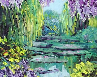 "Wisteria Monet Water Lily Pond Small Painting French Garden Giverny ORIGINAL Impasto Textured Palette Knife Art Canvas 8x8""  Ready to Hang"