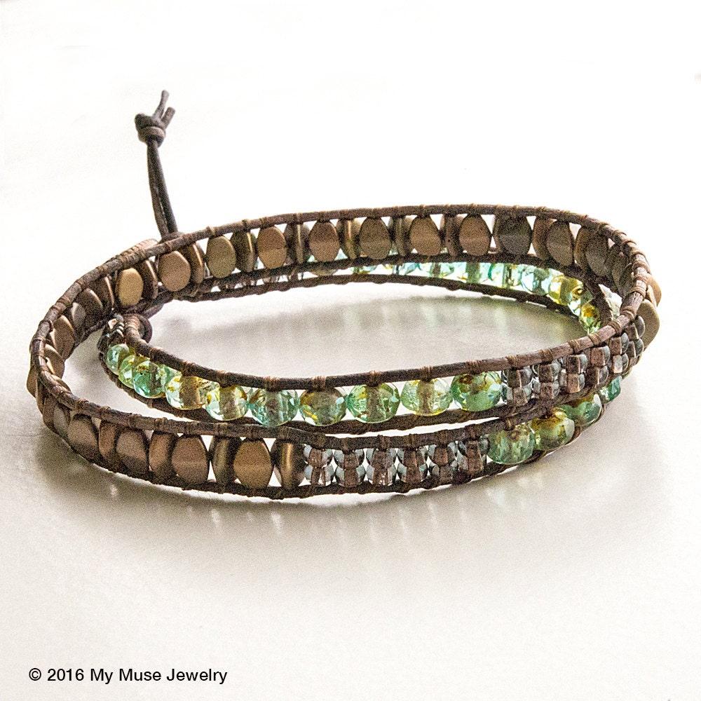Leather Wrap Bracelet With Charms: Double Wrap Bracelet Leather Wrap Seed Bead Leather Wrap