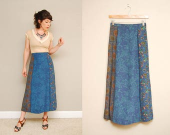 Vintage Blue Floral Print Midi Skirt | 90s Gap Country Floral Maxi Skirt | Sz XS Small