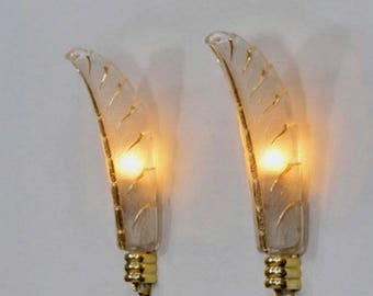 Signed PETITOT - Art Deco Pair Light Sconces - 1930s French Pair Wall Lights - Heavy Molded Glass - The Epitome of Elegance and Style