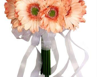 Peach Daisy Bouquet Large - Silk Bridal Wedding Bouquet