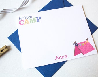 Personalized CAMP Stationery Set | Girl Camp Notes | Camp Stationary | Summer Camp Note Cards | Childrens Stationary