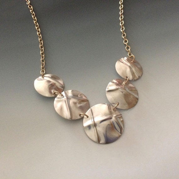 Fold formed sterling silver and gold filled metalwork necklace