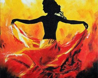 "Dance Ballet Painting ""Athens' - STUDIO SALE 30% off - 16x20 Original Acrylic Painting Dancer Modern Ballerina"