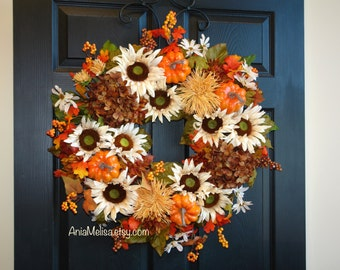 fall wreath 30'' Thanksgiving wreaths for front door wreaths outdoor country decorations welcome rustic wedding front door wreaths