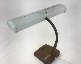 Vintage Keystone Gooseneck Tole Painted Brown Desk Lamp Gold Laurel Leaves Task Lighting