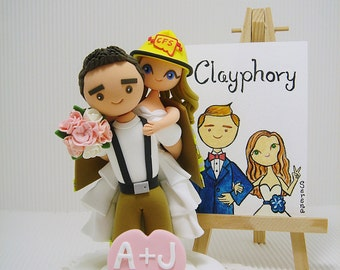 Firefighter custom wedding cake topper