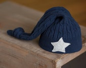 Upcycled Newborn Boy Hat Navy Blue Sleep Cap with Gray Star newborn photography prop READY TO SHIP Upcycled Baby Hat rts Newborn Photo Props