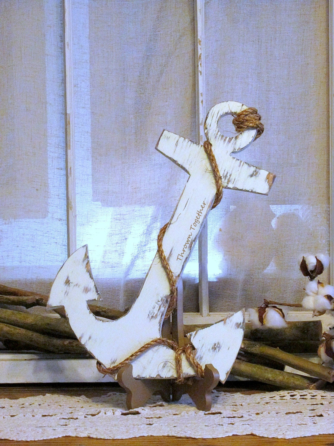 Rustic anchor with rope rustic wood wall decor handmade for How to make a rope wall
