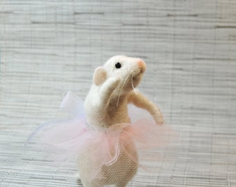 Mouse Ballerina, Needle Felted Mouse, Miniature Felt Mouse, White Mouse With Pink Tutu - READY TO SHIP