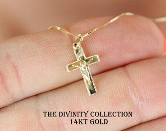14k gold crucifix etsy solid 14kt yellow gold crucifix cross necklace women girls small charm pendant fine jewelry 14k superb mozeypictures Images
