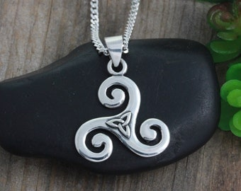 Triskele Necklace With triquetra, Sterling silver Triskelion Necklace, Triple Spiral Pendant, Celtic Jewelry, Gifts for Athletes