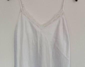White Lace Satin Cami Slip Dress Vintage Silk Lingerie Slip Lace Detail Camisole Prom Silky Cream Ivory Cami Vintage Retro Ladies Women's
