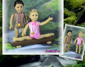 Pink Sparkles and Leopard Print Doll Leotards, Medals & Chocolate Beam - American Girl Doll