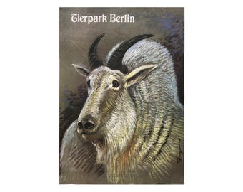 SALE 10% OFF Original Vintage Zoo Poster. Berlin. Germany. Tierpark. Mountain Goat. Advertising Poster. 2017-053