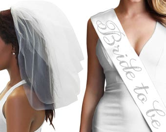 Flirty White Bride To Be Sash Veil Set