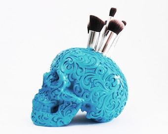 Carved Tribal Skull, Skull, Makeup Assessories, Painted Skull, Replica Human Skull, Skulls, Makeup Brush Holder, Gold Skull, Tribal Skull,