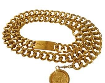 CHANEL 1980s Vintage Statement Chain Belt Gold Link Signature Pendant Size Small Medium Large