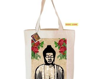Buddha Tote Bag  - Reusable Grocery Shopping Bag - Farmer's Market Bag - Cotton Eco Tote Bag - Book Bag - Free Shipping