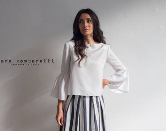 BELL SLEEVE TOP,  white silk blouse with sleeves, bell sleeve crop top, silk crop top, 70s style top