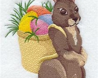 Easter Bunny with Sack of Eggs Embroidered Towel | Flour Sack Towel | Linen Towel | Dish Towel | Kitchen Towel | Hand Towel | Easter Towel
