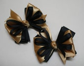 Black & Gold Little 3 inch Petite Piggy Tail TWO Pig Tail Hair Bows