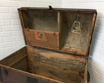 Antique Dome Top Trunk 1870s Camelback Humpback Steamer Storage Chest