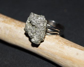 Pyrite Ring - Sparkly Fool's Gold Ring - Square Cube Ring - Pyrite Jewelry - Adjustable Womans Ring -