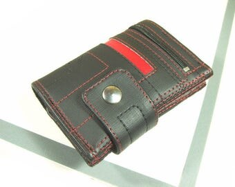 Handmade Wallet with coin Pocket, Black Wallet with Red, Portefeuille fait main, poche monnaie, Vegane Geldbörse, Portemonnee, Vegan wallet