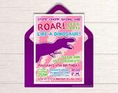 Girls Dinosaur Birthday Invitation - Printable Dino Party Invite - Jurassic Themed Party Ideas - Pink Party Like A Dinosaur Package - BP77