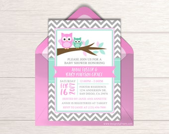 Pink Owl Baby Shower Invite - Printable Mint  & Pink Shower Invitation - It's a Girl Baby Shower - Baby Shower Package - BS54