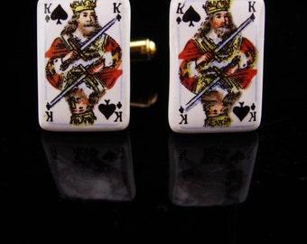 King Cufflinks / deck of cards / spades cufflinks / Playing Cards / VIntage King / las Vegas / Gambling / Poker / bachelor party gift