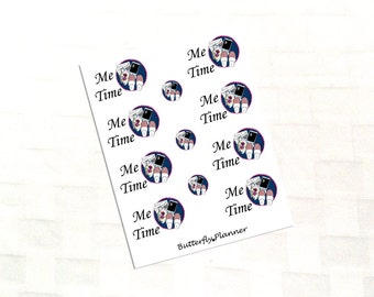 Me Time Planner Stickers, Lazy Day, Relax, 12 Stickers