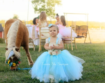 Naomi Blu Flower Girl Tutu Dress in White, Aqua, Tiffany Blue with Ribbon and Lace Trim. Burlap Wedding, Flower Girl